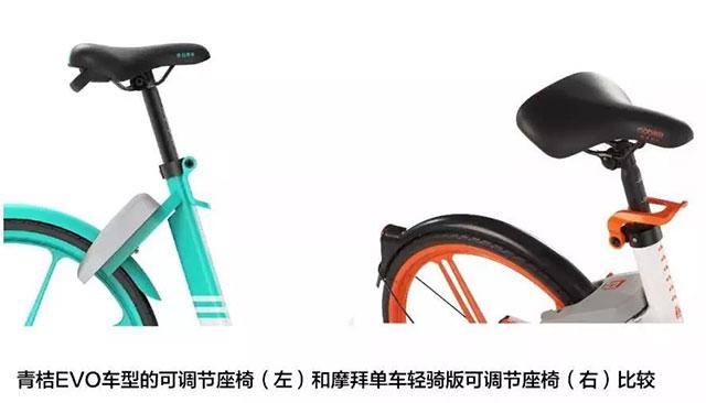 青桔EVO车型的可调节座椅和摩拜单车轻骑版可调节座椅比较
